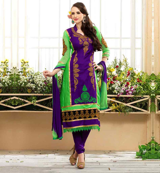 INDIAN SALWAR KAMEEZ EMBROIDERED NECK DESIGNS DESIGNER PURPLE AND GREEN STRAIGHT CUT COTTON SUIT WITH SALWAR AND NAZNEEN DUPATTA