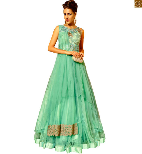 STYLISH BAZAAR  MAGNIFICENT LIGHT GREEN SALWAAR KAMEEZ FOR PARTY WEAR ANIM2103A