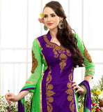 DESIGNER PURPLE AND GREEN STRAIGHT CUT COTTON SUIT WITH SALWAR AND NAZNEEN DUPATTA ATTRACTIVE COLOR COMBINATION AND SUPERB EMBROIDERY WORK ON THE KAMEEZ MAKES THIS DRESS EYE-CATCHING