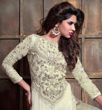 OFF WHITE STRAIGHT CUT KAMEEZ WITH SILVER SALWAR AND DUPATTA GEORGETTE KAMEEZ WITH EMBROIDERY WORK AND BROCADE SILK SALWAR