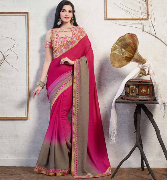 SHADED SAREE WITH DESIGNER BLOUSE ONLINE SHOPPING FOR MARRIAGE PARTY