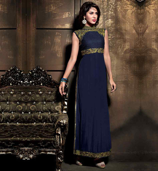 NEW MAISHA CATALOG DESIGNS FOR RAMADAN EID 2015 NAVY BLUE STRAIGHT CUT SALWAR SUIT WITH MATCHING DUPATTA