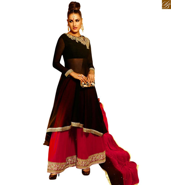 STYLISH BAZAAR DESIGNER KHWAB ROYAL BLACK KAMEEZ WITH PINK PLAZZO ANIM2104