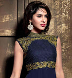 NAVY BLUE STRAIGHT CUT SALWAR SUIT WITH MATCHING DUPATTA GEORGETTE KAMEEZ WITH EMBROIDERY WORK ON BANDHGALA NECKLINE