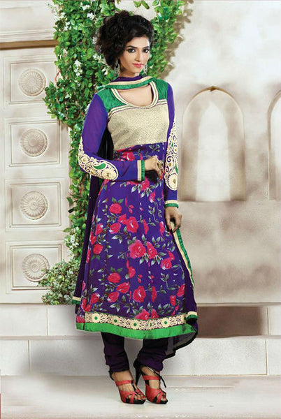 PEPPY PURPLE GEORGETTE PRINTED DESIGNER CHURIDAR DRESS 1475