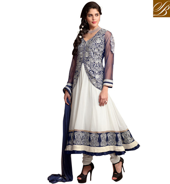 ANARKALI WITH JACKET LOOK ONLINE SHOPPING INDIA FANCY SALWAR KAMEEZ OFF WHITE AND BLUE