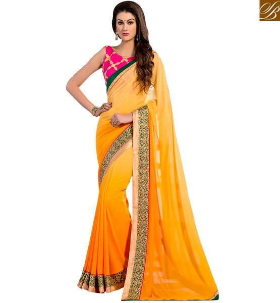 LOVELY EMBROIDERED DESIGNER SARI FOR SPECIAL OCCASIONS VAR2104 BY YELLOW