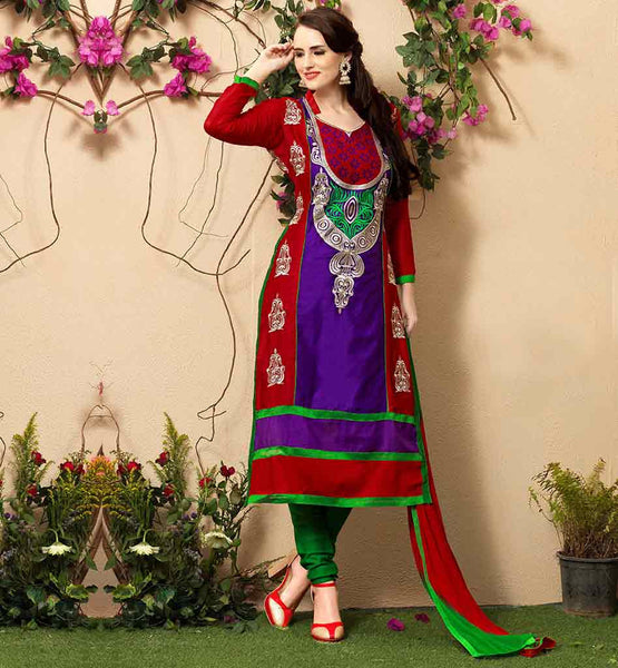 LOVELY EMBROIDERY SALWAR SUIT DESIGN PATTERNS EXCITING PURPLE AND RED STRAIGHT CUT COTTON SUIT WITH SALWAR AND NAZNEEN DUPATTA