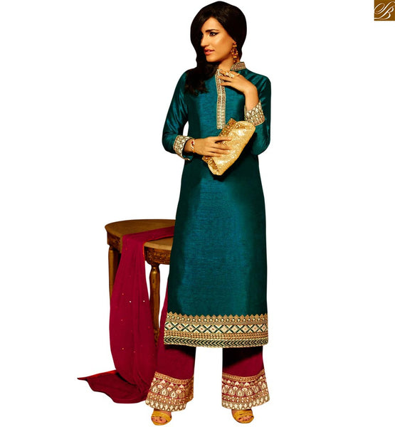 STYLISH BAZAAR MAJESTIC GREEN EMBROIDERED DESIGNER STRAIGHT SALWAR KAMEEZ ANIM2105