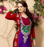 EXCITING PURPLE AND RED STRAIGHT CUT COTTON SUIT WITH SALWAR AND NAZNEEN DUPATTA COMFORTABLE AND STYLISH DRESS THAT HAS OUTSTANDING EMBROIDERY WORK AND BEAUTIFUL COLOR COMBINATION