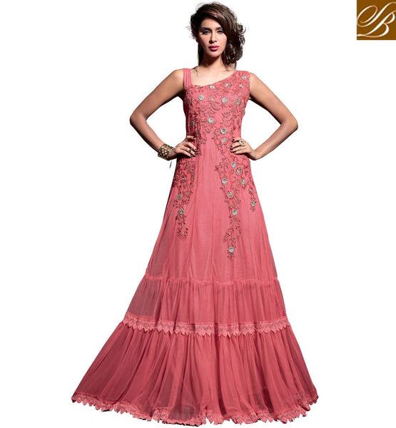MAISHA GOWN STYLE ANARKALI FOR EID AND WEDDINGS DUSTY PINK GOWN LOOK ANARKALI DRESS WITH MATCHING SALWAR AND DUPATTA