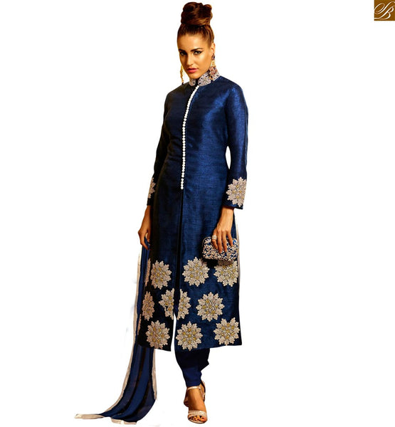 STYLISH BAZAAR MESMERIC NAVY BLUE SALWAR SUIT WITH AN AMAZING RESHAM EMBROIDERY ANIM2106