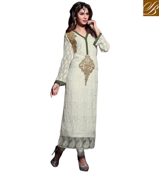 DESIGNER MAISHA SALWAR SUITS FOR SPECIAL OCCASIONS OFF-WHITE SALWAR SUIT STRAIGHT CUT PATTERN WITH MATCHING SALWAR AND DUPATTA