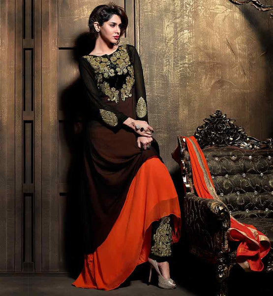 STYLISH WOMEN'S MAISHA EMBROIDERED TROUSERS SUITS BLACK AND ORANGE PART WEAR SALWAR SUIT WITH DUPATTA