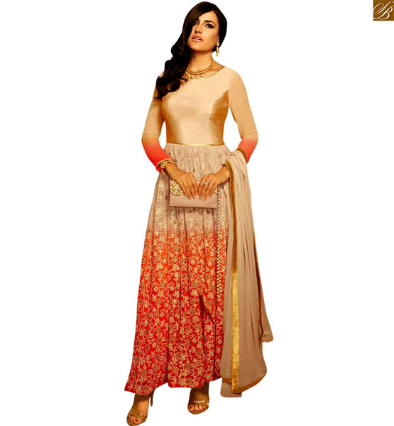 STYLISH BAZAAR DESIGNER SHADED CREAM AND ORANGE STRAIGHT CUT SALWAR KAMEEZ ANIM2107