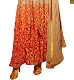 FROM THE HOUSE OF STYLISH BAZAAR: DESIGNER SHADED CREAM AND ORANGE STRAIGHT CUT SALWAR KAMEEZ ANIM2107