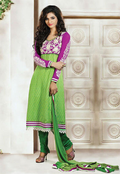 GLAMOUROUS GREEN AND PURPLE GEORGETTE DESIGNER CHURIDAR DRESS