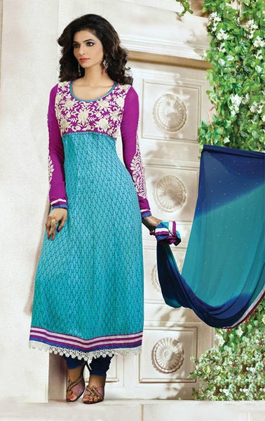 ARRESTING AQUA BLUE AND PURPLE GEORGETTE DESIGNER CHURIDAR DRESS