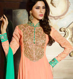 ORANGE PARTY WEAR GEORGETTE SALWAR KAMEEZ DRESS WITH DUPATTA