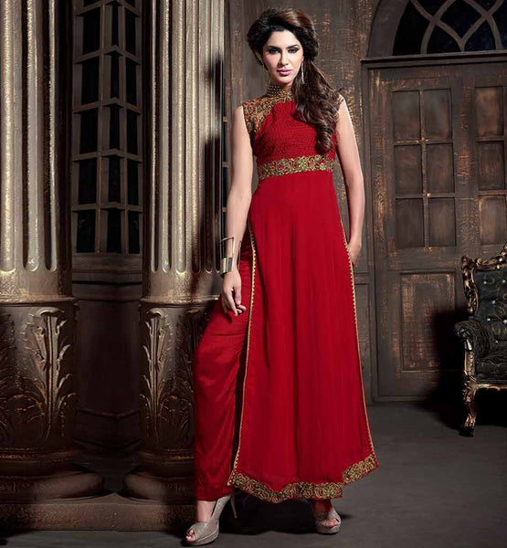 BANDHGALA PARTY WEAR MAISHA SALWAR SUIT WITH DUPATTA RAVISHING RED STRAIGHT CUT DESIGNER SALWAR SUIT