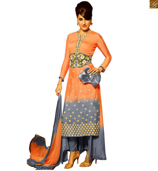 STYLISH BAZAAR IMPRESSIVE SHADED ORANGE AND GREY DESIGNER SALWAR SUIT FOR PARTY WEAR ANIM2108
