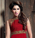 RAVISHING RED STRAIGHT CUT DESIGNER SALWAR SUIT  GORGEOUS GEORGETTE SALWAR SUIT WITH GOOD LOOKING NECKLINE PORTION