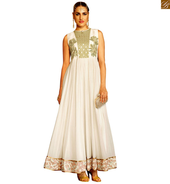 STYLISH BAZAAR ROYAL OFF WHITE DESIGNER SALWAR SUIT WITH PARI WORK AND LACE BORDER ANIM2109