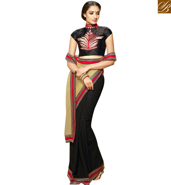 STYLISH BAZAAR MAGNIFICENTT VISCOSS GEORGETTE HALF N HALF DESIGNER SAREE KEEP GORGEOUS BLOUSE SLHAW210