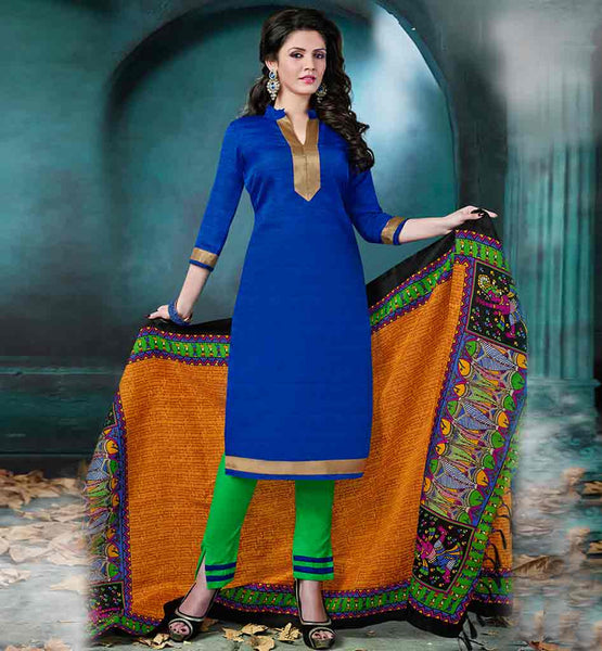 DESIGNER SALWAR KAMEEZ ONLINE SHOPPING FOR WOMEN STRAIGHT CUT BLUE BHAGALPURI SUIT WITH PARROT GREEN COTTON SALWAR AND PRINTED DUPATTA