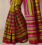 Yellow Bhagalpuri Silk Latest Printed Patterns Casual Saree With Yellow Bhagalpuri Silk Designer Blouse Stylish Saree Blouse Designs Latest Printed Patterns Of Casual Wear