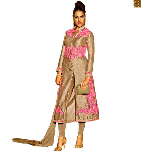 STYLISH BAZAAR BEWITCHING DESIGNER DARK CREAM SILK TOP WITH A SANTOON KAMEEZ ANIM2110