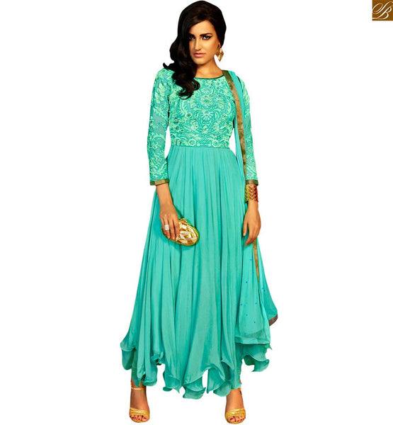 STYLISH BAZAAR ULTIMATE SEA BLUE DESIGNER EMBROIDERED GOWN STYLE SALWAR SUIT ANIM2111