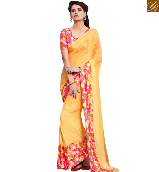 STYLISH BAZAAR ATTRACTIVE YELLOW & MULTI COLORED GEORGETTE SAREE RTRNK2112