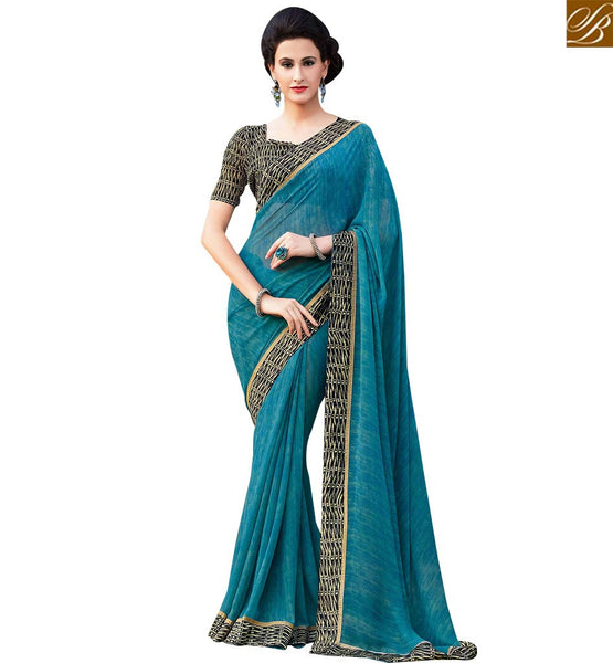 FROM STYLISH BAZAAR BEAUTIFUL BLUE & BLACK COLORED GEORGETTE SAREE RTRNK2113