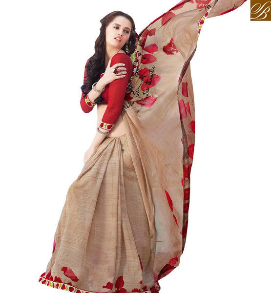 STYLISH BAZAAR LAVISHING CREAM & MAROON COLORED GEORGETTE SAREE RTRNK2114A