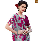 FROM STYLISH BAZAAR EYE CATHCHING GREY & PINK COLORED GEORGETTE PRINT SAREE RTRNK2114B