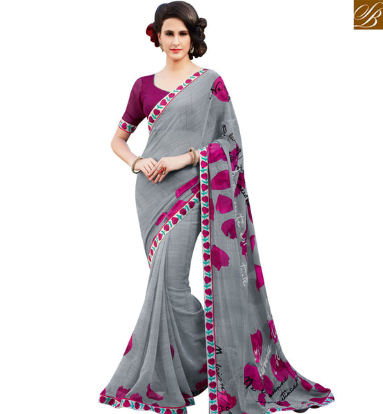 STYLISH BAZAAR EYE CATHCHING GREY & PINK COLORED GEORGETTE PRINT SAREE RTRNK2114B