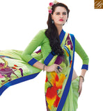 FROM THE HOUSE OF STYLISH BAZAAR GORGEOUS GREEN COLORED PRINT WORK SAREE RTRNK2115A