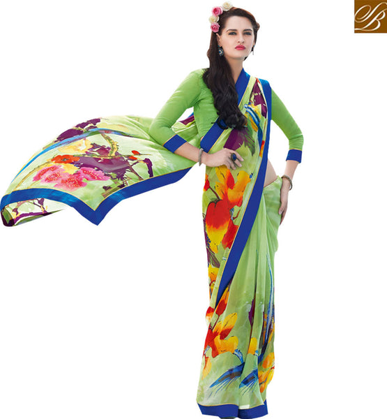 STYLISH BAZAAR GORGEOUS GREEN COLORED PRINT WORK SAREE RTRNK2115A