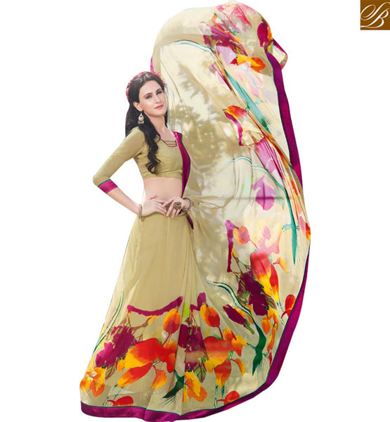 STYLISH BAZAAR GOOD LOOKING CREAM COLORED PRINTED SAREE RTRNK2115B