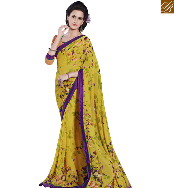 STYLISH BAZAAR STARING YELLOW COLORED PRINT WORK SAREE RTRNK2116