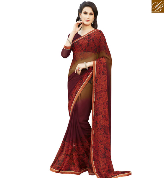 STYLISH BAZAAR MARVELLOUS RED & BROWN COLORED GEORGETTE SAREE RTRNK2117