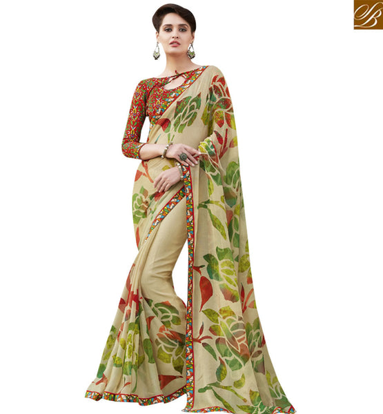 STYLISH BAZAAR NICE LOOKING CREAM & MAROON COLORED DESIGNER SAREE RTRNK2119