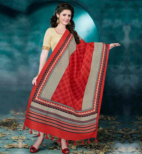 DESIGNER LADIES SALWAR KAMEEZ AT AFFORDABLE PRICES BEIGE BHAGALPURI FABRIC STRAIGHT CUT SUIT WITH BLACK COTTON MATERIAL SALWAR  & RED COLOR BAGRU PRINT