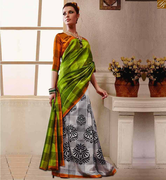 DESIGNER BLOUSES INDIANS FANCY HALF SAREE COLOUR COMBINATIONS GREEN BHAGALPURI SILK CASUAL WEAR SAREE WITH MUSTARD BHAGALPURI SILK DESIGNER BLOUSE