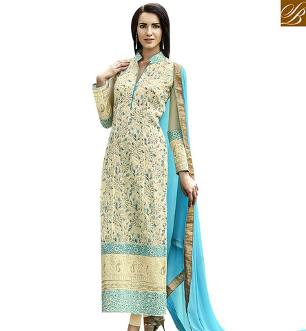 STYLISH BAZAAR ELEGANT SEA GREEN COLORED SALWAR KAMEEZ WITH BEAUTIFUL EMBROIDERED WORK ANEK2121