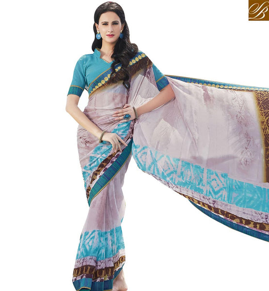 STYLISH BAZAAR GLAMOROUS GREY & SKYBLUE COLORED DESIGNER SAREE RTRNK2122B