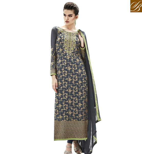 STYLISH BAZAAR ASTONISHING GREY COLORED SALWAR KAMEEZ WITH ATTRACTIVE EMBROIDERED WORK ANEK2122
