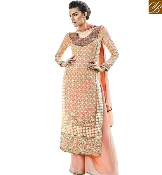 STYLISH BAZAAR STRIKING PEACH COLORED DESIGNER SALWAR SUIT WITH SPLENDID EMBROIDERY WORK ANEK2123