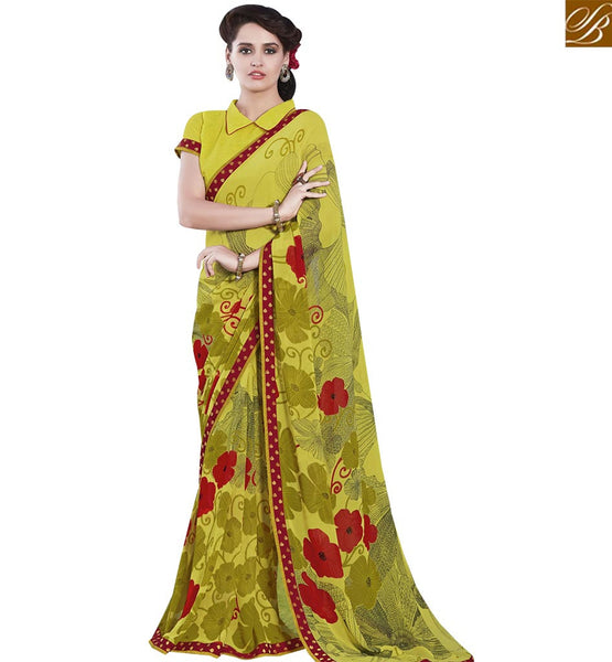 STYLISH BAZAAR ENTHRALLING YELLOW COLORED GEORGETTE PRINT SAREE RTRNK2123
